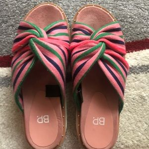 Multi colored terry cloth think sole slippers